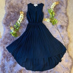 Philosophy navy blue high-low pleated dress